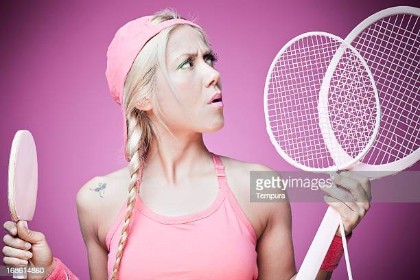 Tennis or ping pong? girl in doubts.