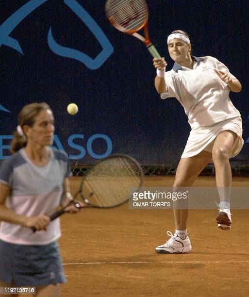 Tennis partners argentinian Patricia Tarabini and spanish Conchita Martinez seen during a match in the Abierto de México competition against Sanchez...