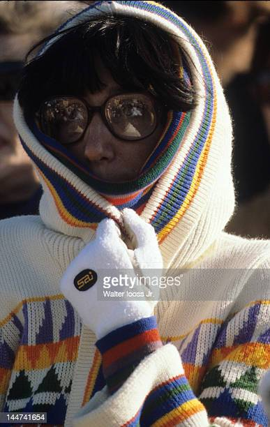 Pepsi Grand Slam Closeup of fan wearing glasses and bundled up in sweater in stands during Final between USA Jimmy Connors and Sweden Bjorn Borg at...