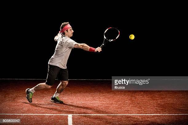 Tennis player action: Backhand volée