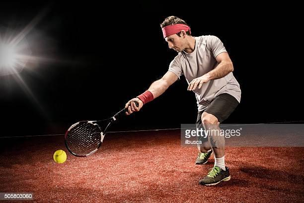 テニス選手措置:低フォアハンド