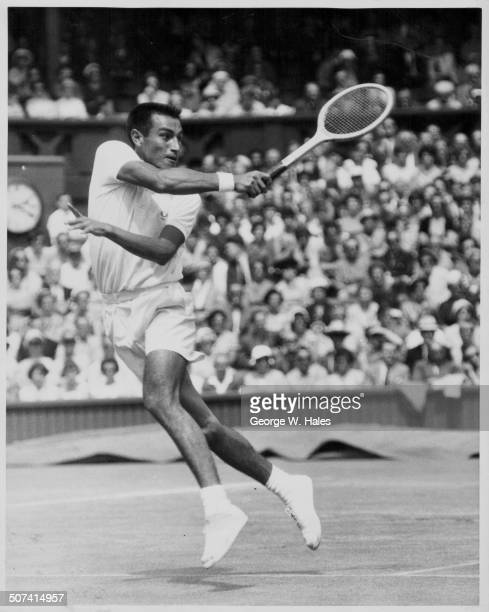Tennis player Alex Olmedo in the middle of a game with Luis Ayala at Wimbledon London June 29th 1959