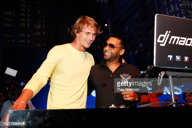 Tennis player Alexander Zverev and DJ Mad Linx speak onstage during the Citi Taste Of Tennis gala on August 23 2018 in New York City