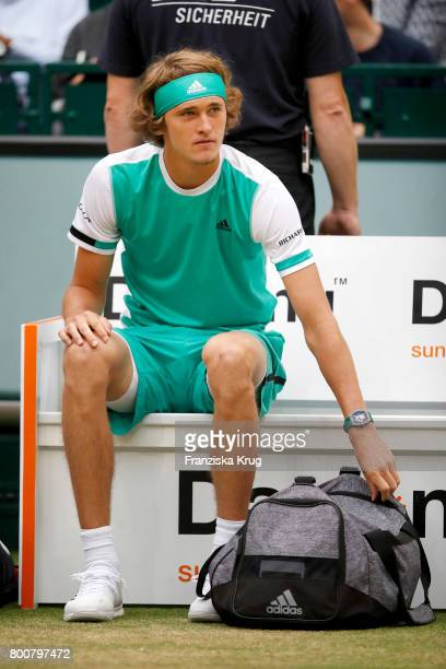 Tennis player Alexander Zverev attends the Gerry Weber Open 2017 at Gerry Weber Stadium on June 25 2017 in Halle Germany