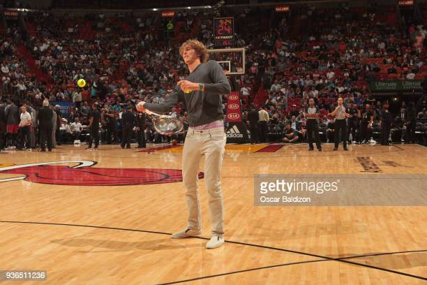 Tennis Player Alexander Zverev attends the New York Knicks game against the Miami Heat on March 21 2018 at American Airlines Arena in Miami Florida...