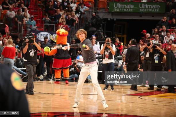 Tennis player Alexander Zverev Jr hits some balls to the fans during the game between the Miami Heat and New York Knicks on March 21 2018 at American...