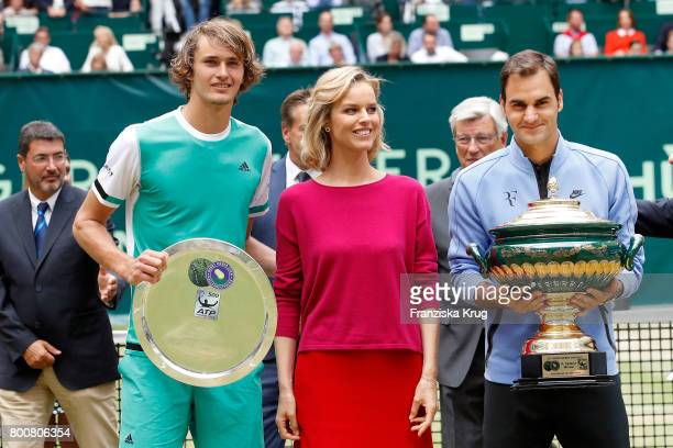 Tennis player Alexander Zverev Model Eva Herzigova and tennis player and winner Roger Federer attend the Gerry Weber Open 2017 at Gerry Weber Stadium...