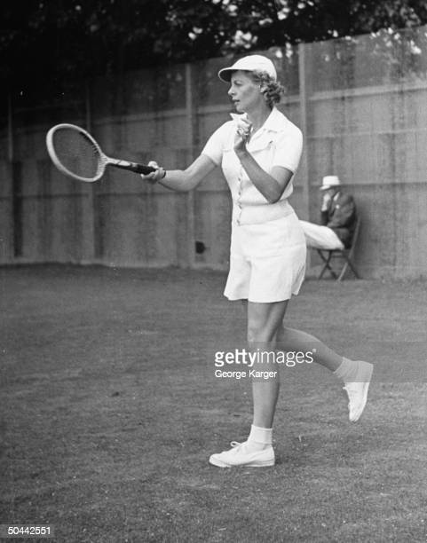 Tennis player Alice Marble participating in a women's tournament
