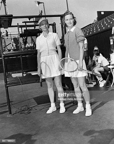 Tennis player Alice Marble poses off court during the Pacific Southwest Tennis Match in Los Angeles California