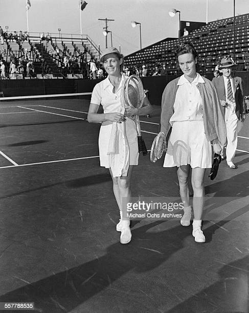 Tennis player Alice Marble walks off court during the Pacific Southwest Tennis Match in Los Angeles California