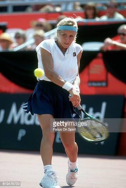 Tennis player Amanda Coetzer of South Africa returns a shot during the women 1995 DU Maurier Open Tennis Tournament at the Uniprix Stadium in...