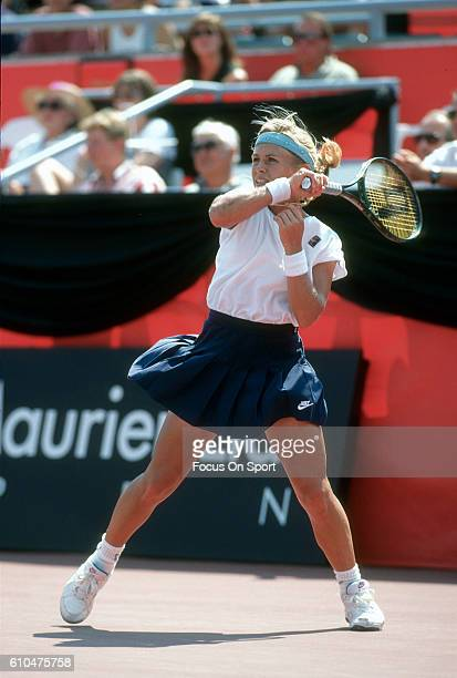 Tennis player Amanda Coetzer of South Africa returns a shot during the women 1995 DU Maurier Open Tennis Tournament at the Uniprix Stadium in...