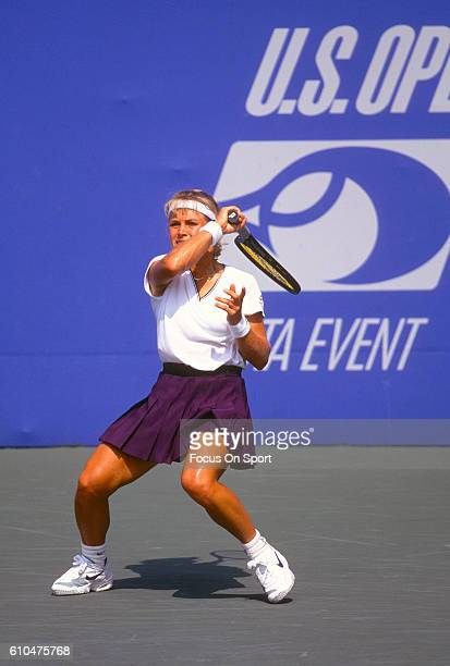 Tennis player Amanda Coetzer of South Africa returns a shot during the women 1995 US Open Tennis Tournament at the USTA National Tennis Center in the...