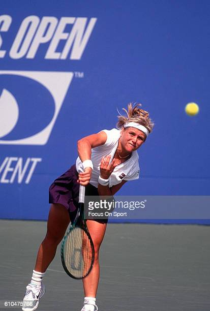 Tennis player Amanda Coetzer of South Africa serves during the women 1995 US Open Tennis Tournament at the USTA National Tennis Center in the Queens...