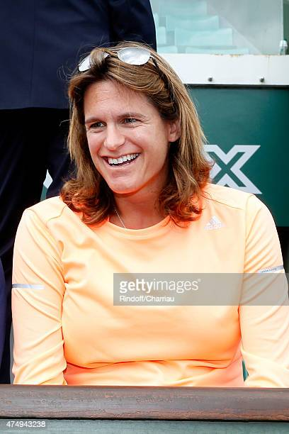 Tennis player Amelie Mauresmo pregnant watches the match of Andy Murray during the 2015 Roland Garros French Tennis Open Day Five on May 28 2015 in...