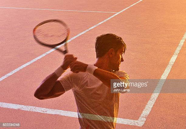 tennis player and court - multiple exposure sport stock pictures, royalty-free photos & images