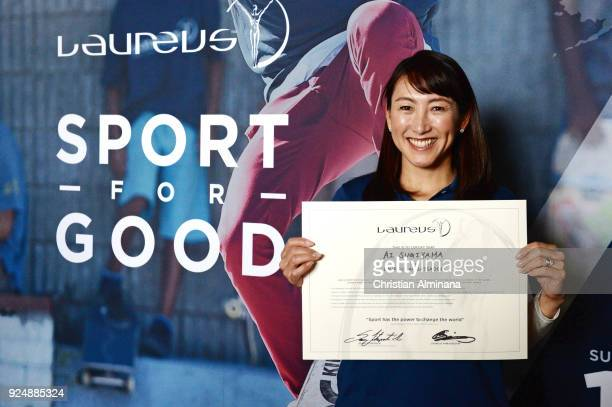 Tennis player and New Laureus Ambassador Ai Sugiyama poses with her certificate prior to the Laureus World Sports Awards at the Meridien Beach Plaza...