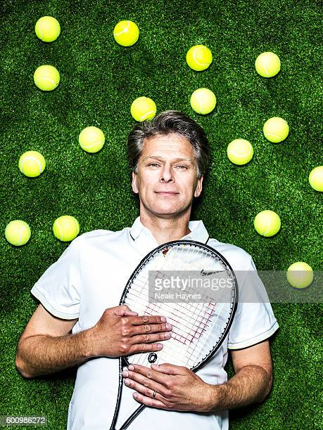 Tennis player and tv presenter Andrew Castle is photographed for the Daily Mail on June 9 2016 in London England