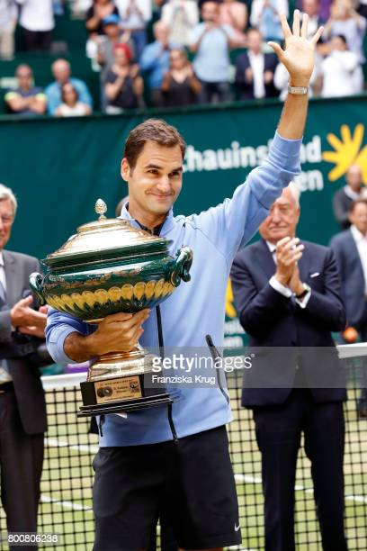 Tennis player and winner Roger Federer attend the Gerry Weber Open 2017 at Gerry Weber Stadium on June 25 2017 in Halle Germany