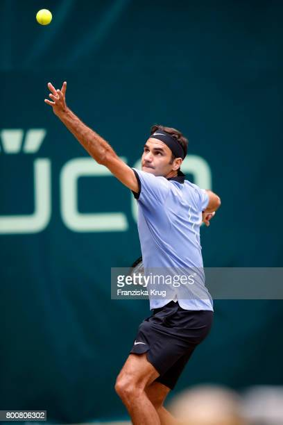 Tennis player and winner Roger Federer attends the Gerry Weber Open 2017 at Gerry Weber Stadium on June 25 2017 in Halle Germany