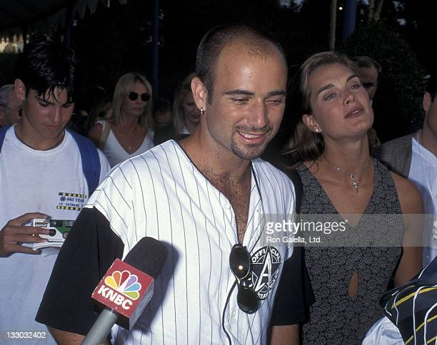 Tennis player Andre Agassi and actress Brooke Shields attend 'An Evening at the Net' Tennis Tournament and Cocktail Reception to Benefit the...