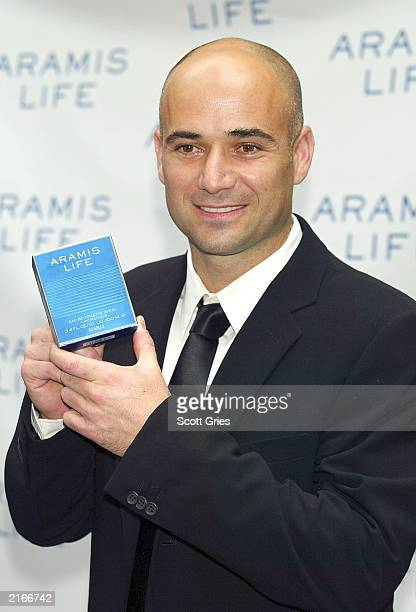 Tennis player Andre Agassi attends a party to launch the new men's fragrance Aramis Life at Christie's July 16 2003 in New York City