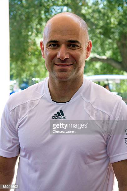 Tennis player Andre Agassi plays at the Bryan Brothers' all-star tennis smash at the Sherwood Country Club on September 27, 2008 in Thousand Oaks,...