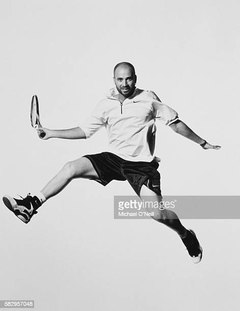 Tennis player Andre Agassi poses for GQ US in April 1996 in Las Vegas Nevada