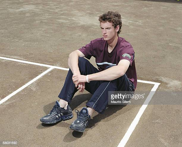 Tennis player Andrew Murray poses at a studio session at the SanchezCasal Tennis Academy on April 23 2005 in Barcelona Spain