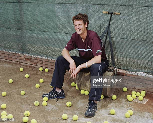 Tennis player Andrew Murray poses at a studio session at the Sanchez-Casal Tennis Academy on April 23, 2005 in Barcelona, Spain.
