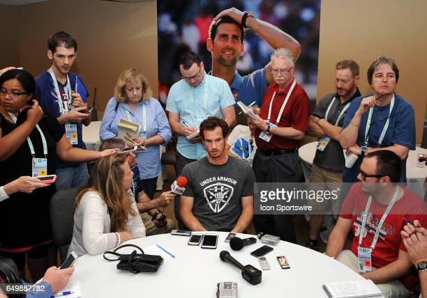 ATP tennis player Andy Murray does interviews during Player Media Day held during the BNP Paribas Open on March 2017 at the Indian Wells Tennis...