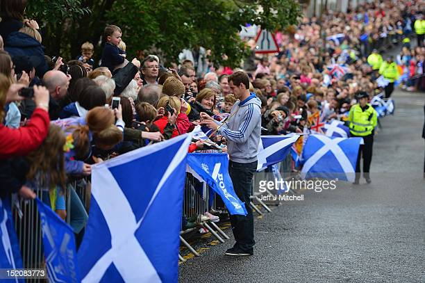Tennis player Andy Murray returns to Dunblane following his win in the US Open and his gold medal in the 2012 Olympic games in London, on September...