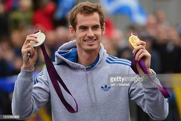 Tennis player Andy Murray returns to Dunblane following his win in the US Open and his gold medal in the 2012 Olympic games in London on September 16...