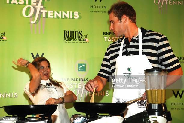 Tennis player Andy Roddick and chef Ingrid Hoffman attend the 9th Annual BNP Paribas Taste of Tennis at the W New York Hotel on August 21 2008 in New...