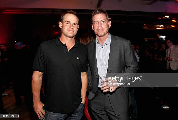 Tennis player Andy Roddick and former Dallas Cowboys quarterback Troy Aikman attends GQ Lacoste And Patron Tequila Celebrate The Super Bowl In...