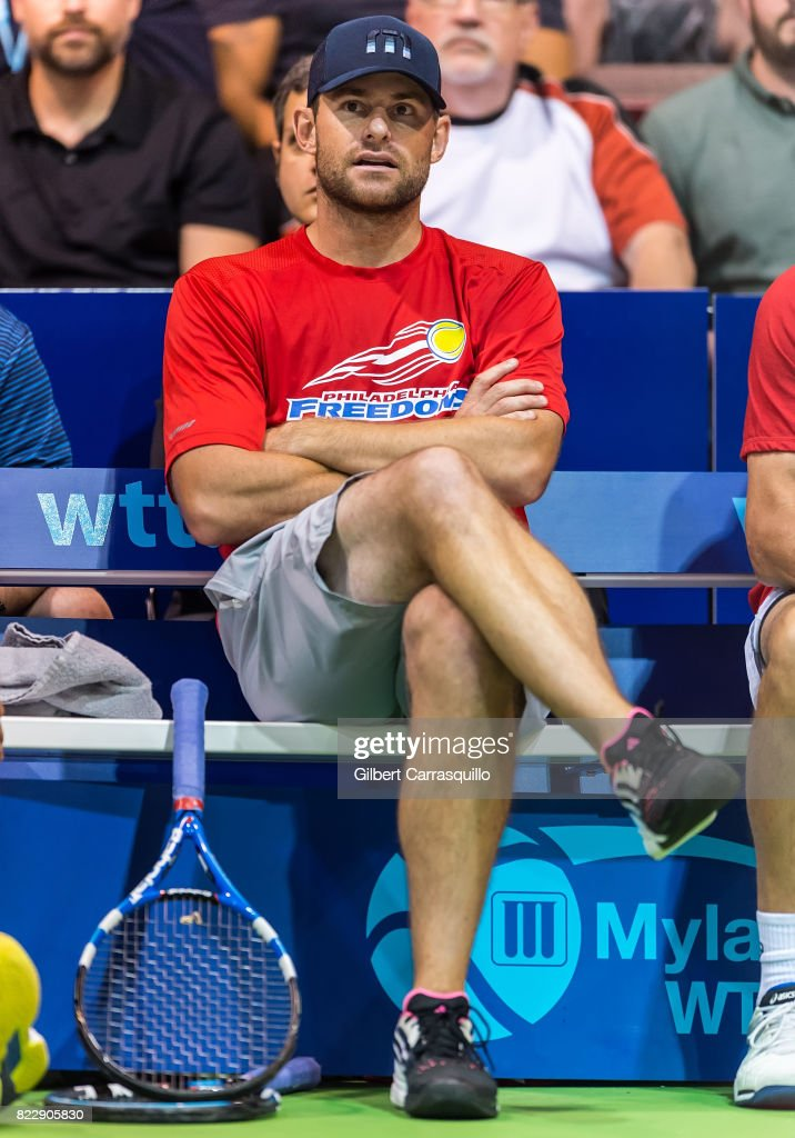 Tennis player Andy Roddick attends the 2017 Mylan World TeamTennis New York Empire vs Philadelphia Freedoms match at Michael J. Hagan Arena at St. Joseph's University on July 25, 2017 in Philadelphia, Pennsylvania