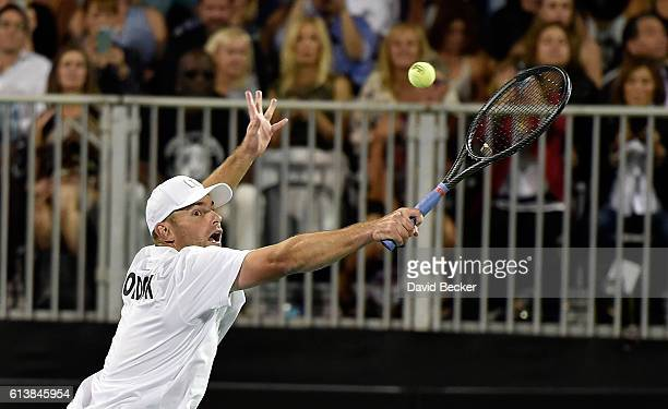 Tennis player Andy Roddick competes during the World TeamTennis Smash Hits charity tennis event benefiting the Elton John AIDS Foundation at Caesars...