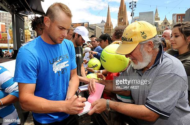 Tennis player Andy Roddick of the US signs autographs at a public event for the upcoming Kooyong Classic in Melbourne on January 10 2012 Top male...
