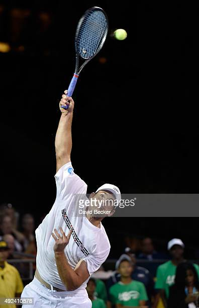 Tennis player Andy Roddick participates at the Mylan World TeamTennis Smash Hits charity tennis event at Caesars Palace on October 12 2015 in Las...