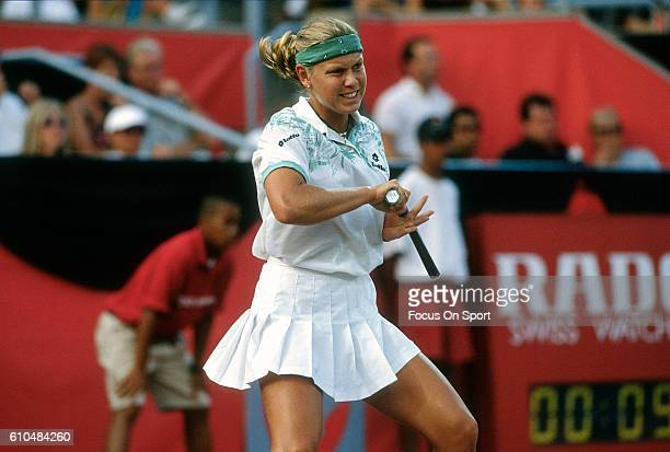 Tennis player Anke Huber of Germany returns a shot during the women 1995 DU Maurier Open Tennis Tournament at the Uniprix Stadium in Montreal Quebec...