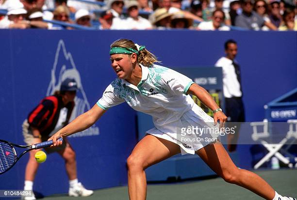 Tennis player Anke Huber of Germany returns a shot during the women 1995 US Open Tennis Tournament at the USTA National Tennis Center in the Queens...