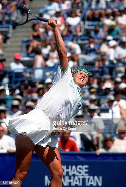 Tennis player Anke Huber of Germany serves during the women 1995 US Open Tennis Tournament at the USTA National Tennis Center in the Queens borough...