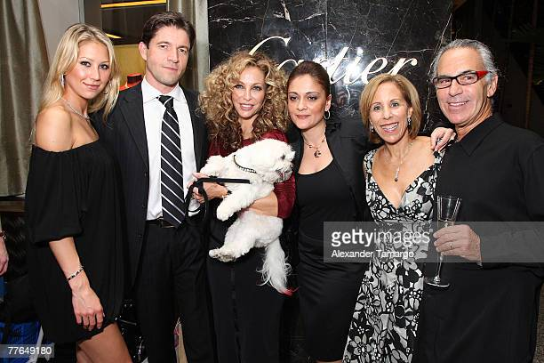 Tennis player Anna Kournikova Frederic de Narp Lisa Pliner Anabela Sotelo Bonnie Clearwater Donald Pliner pose during a cocktail as Carier and Museum...