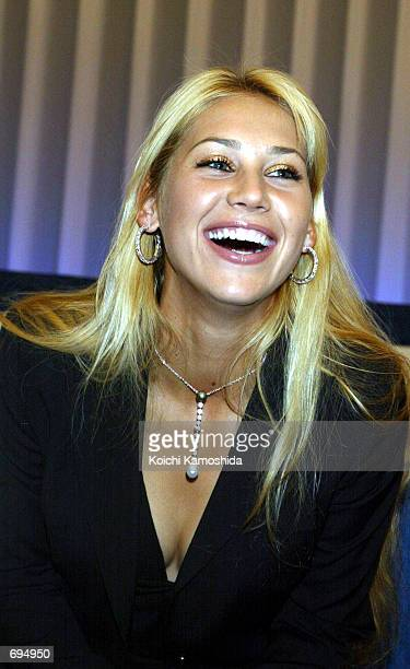 Tennis player Anna Kournikova of Russia attends a media event January 28 2002 in Tokyo Japan Kournikova will take part in the Toray Pan Pacific...