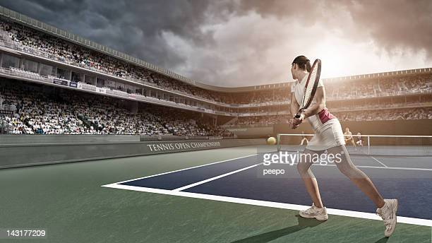 tennis player backhand - taking a shot sport stock pictures, royalty-free photos & images