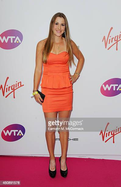 Tennis Player Belinda Bencic attends the WTA PreWimbledon Party as guests enjoy Ciroc Vodka presented by Dubai Duty Free at Kensington Roof Gardens...