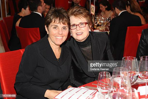 Tennis player Billie Jean King and Marilyn Barnett attend Chopard at 21st Annual Elton John AIDS Foundation Academy Awards Viewing Party at West...