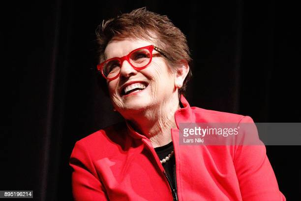 """Tennis player Billie Jean King on stage during MOMA's Contenders Screening of """"Battle of the Sexes"""" at MOMA on December 18, 2017 in New York City."""