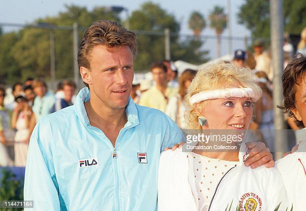 Tennis Player Bjorn Borg and Actress Elke Sommer at Charity Match in 1986 in Las Vegas Nevada