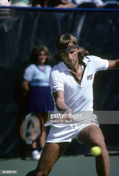 Tennis player Bjorn Borg from Sweden hits a forehand return against an opponent during the U.S. Open tennis tournament at the USTA National Tennis...